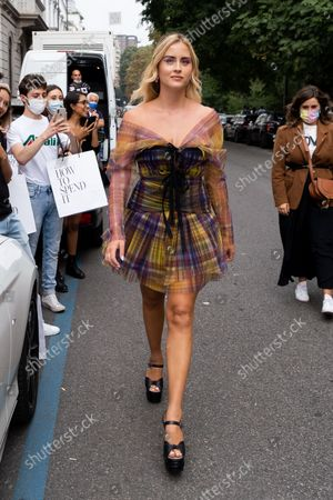 The Italian influencer Valentina Ferragni, sister of the more famous Chiara Ferragni, arrives in the location where the Philosophy brand show took place, during the Milan Fashion Week in September 2021.