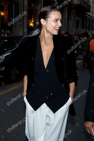 Stock Picture of The Polish actress Kasia Smutniak arrives in the location where the fashion show of the designer Giorgio Armani will take place, during the Milan Fashion Week in September 2021.