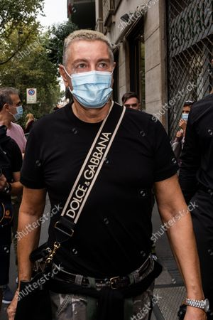 The designer Stefano Gabbana at the exit of his brand's fashion show, during the Milan Fashion Week this September 2021.