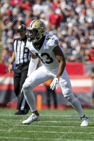 Stock Photo of New Orleans Saints safety Marcus Williams (43) defends during the first half of an NFL football game against the New England Patriots, in Foxborough, Mass