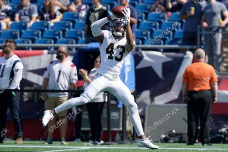 New Orleans Saints free safety Marcus Williams (43) catches a pass prior to an NFL football game between the New Orleans Saints and New England Patriots, in Foxborough, Mass