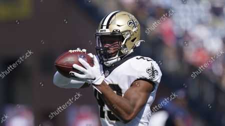 New Orleans Saints free safety Marcus Williams (43) prior to an NFL football game between the New Orleans Saints and New England Patriots, in Foxborough, Mass