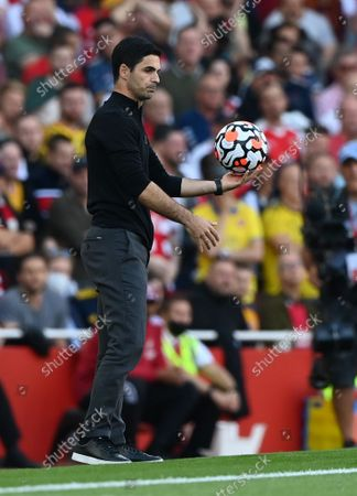 Manager Mikel Arteta of Arsenal reacts during the English Premier League soccer match between Arsenal FC and Tottenham Hotspur in London, Britain, 26 September 2021.