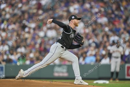 Colorado pitcher John Gray (55) throws a pitch during the game with San Francisco Giants and Colorado Rockies held at Coors Field in Denver Co. David Seelig/Cal Sport Medi