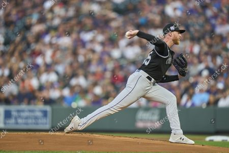 Stock Picture of Colorado pitcher John Gray (55) throws a pitch during the game with San Francisco Giants and Colorado Rockies held at Coors Field in Denver Co. David Seelig/Cal Sport Medi