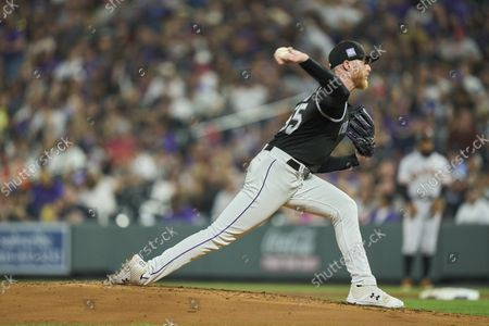 Stock Photo of Colorado pitcher John Gray (55) throws a pitch during the game with San Francisco Giants and Colorado Rockies held at Coors Field in Denver Co. David Seelig/Cal Sport Medi