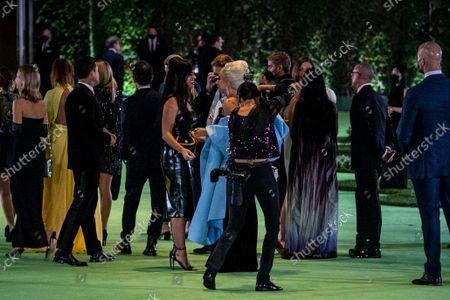 Katy Perry and Lady Gaga meet on the green carpet of the Opening Gala for the Academy Museum of Motion Pictures, in Los Angeles, CA, Saturday, Sept. 25, 2021. (Jay L. Clendenin / Los Angeles Times)