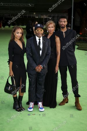 Spike and Tonya Lewis Lee, center, with daughter Satchel, left and son Jackson, on the green carpet of the Opening Gala for the Academy Museum of Motion Pictures, in Los Angeles, CA, Saturday, Sept. 25, 2021. (Jay L. Clendenin / Los Angeles Times)