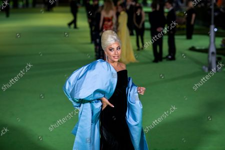 Stock Picture of Lady Gaga on the green carpet of the Opening Gala for the Academy Museum of Motion Pictures, in Los Angeles, CA, Saturday, Sept. 25, 2021. (Jay L. Clendenin / Los Angeles Times)