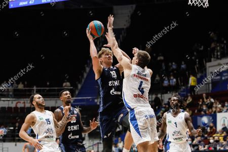 Mindaugas Kuzminskas #19 of Zenit in action against Ojars Silins #4 of Kalev during the VTB United League basketball match between BC Zenit St Petersburg and BC Kalev Cramo Tallinn on September 26, 2021 at Sibur Arena in Saint Petersburg, Russia.