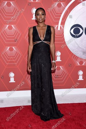 Patina Miller arrives at the 74th annual Tony Awards at Winter Garden Theatre, in New York