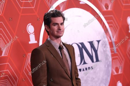 Andrew Garfield arrives at the 74th annual Tony Awards at Winter Garden Theatre, in New York