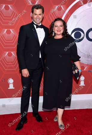 Stock Picture of Andrew Rannells, left, and Zuzanna Szadkowski arrive at the 74th annual Tony Awards at Winter Garden Theatre, in New York