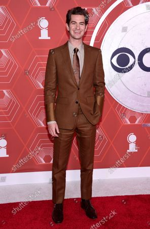 Stock Image of Andrew Garfield arrives at the 74th annual Tony Awards at Winter Garden Theatre, in New York