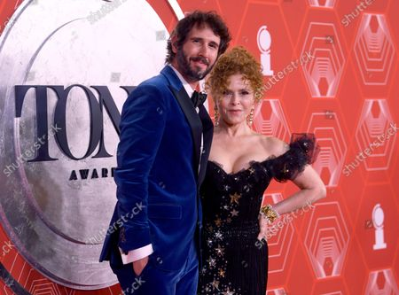 Josh Groban, left, and Bernadette Peters arrive at the 74th annual Tony Awards at Winter Garden Theatre, in New York