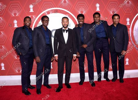 Jelani Remy, from left, Matt Manuel, John Legend, Jawan M. Jackson, Nik Walker and James Harkness arrive at the 74th annual Tony Awards at Winter Garden Theatre, in New York