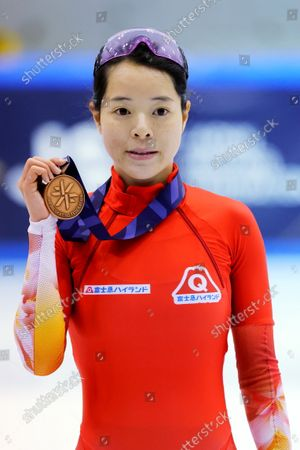 Stock Picture of Sumire Kikuchi - Short Track Skating :  The 32nd All Japan Single Distances Short Track Speed Skating Championships  Women's 1000m Award Ceremony  at Teisan ice skating training center in Nagano, Japan.