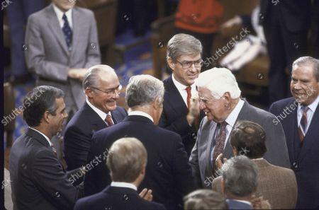 Editorial photo of Robert H. Michel;Thomas P. Jr. O'Neill;Tony Coehlo;Jack F. Kemp, Washington, District of Columbia, USA