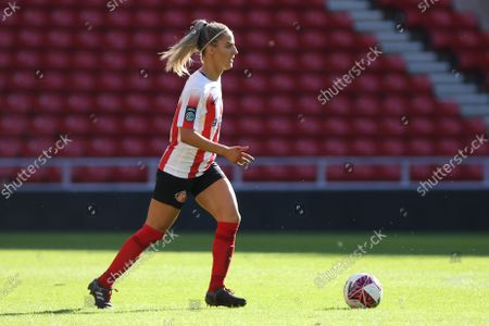 Louise Griffiths of Sunderland in action during the FA Women's Championship match between Sunderland and Lewes at the Stadium Of Light, Sunderland on Sunday 26th September 2021.