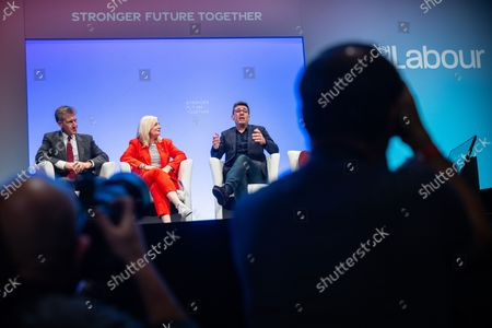 Stock Photo of Panel discussion of regional devolved mayors featuring DAN JARVIS , TRACY BRABIN and ANDY BURNHAM . The third day of the 2021 Labour Party Conference , which is taking place at the Brighton Centre .
