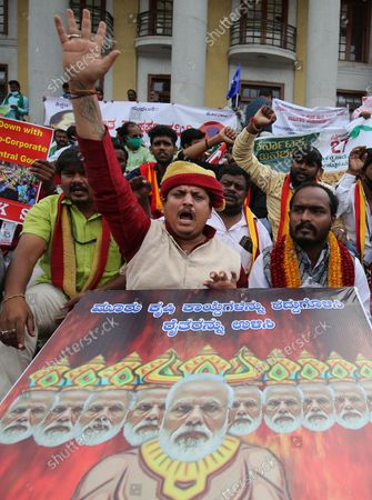 Editorial image of Farmers protest in Bangalore, India - 27 Sep 2021