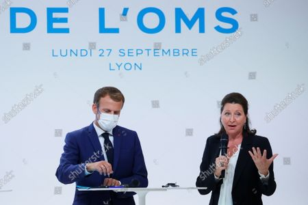 Agnes Buzyn (R), Executive Director of the World Health Organisation Academy, speaks during the WHO Academy opening ceremony chaired by French President Emmanuel Macron and WHO Director-General Tedros Adhanom Ghebreyesus, in Lyon, France, 27 September 2021.