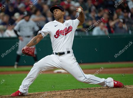 Stock Photo of Cleveland Indians relief pitcher Anthony Gose delivers against the Chicago White Sox during a baseball game in Cleveland