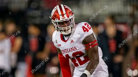 Indiana University outside linebacker D.K. Bonhomme gets ready for a play during an NCAA football game against Western Kentucky University, in Bowling Green, KY. IU beat WKU 33-31