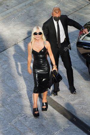 Donatella Versace arrival