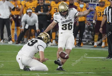 Stock Image of Colorado kicker Cole Becker (36) attempts a field goal during their NCAA college football game with Arizona State Sat, in Tempe, Ariz