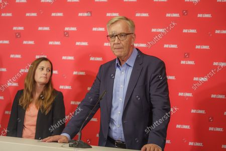 Stock Picture of Press Conference Die Linke - Results of the 2021 Bundestag Elections and the State Parliament Elections in Mecklenburg-Western Pomerania and Berlin - Janine Wissler, Party Chairmen Die Linke and Dietmar Bartsch, Group Chairman The Left Group in the German Bundestag