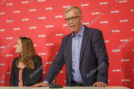 Stock Photo of Press Conference Die Linke - Results of the 2021 Bundestag Elections and the State Parliament Elections in Mecklenburg-Western Pomerania and Berlin - Janine Wissler, Party Chairmen Die Linke and Dietmar Bartsch, Group Chairman The Left Group in the German Bundestag