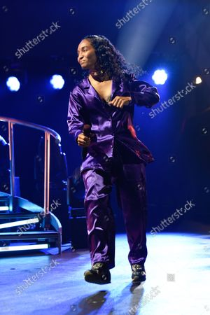 """Rozonda Ocielian Thomas better known by her stage name Chilli, of TLC performs during the''Celebration of CrazySexyCool"""" tour"""