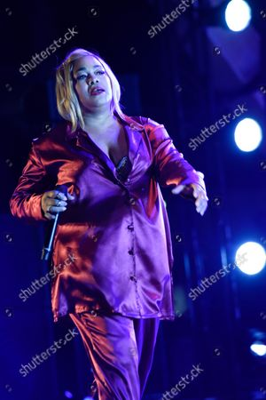 """Tionne Tenese Watkins better known by her stage name T-Boz, of TLC performs during their ''Celebration of CrazySexyCool"""" tour"""