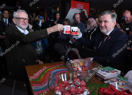 Stock Picture of Former Labour Leader Jeremy Corbyn and Barry Gardiner, MP at a fringe meeting for ÒStop Fire Re-HireÕ during the Labour party conference