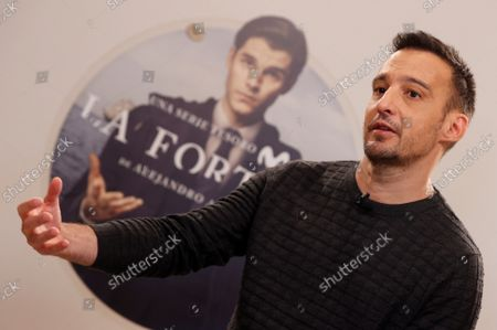 Spanish film maker Alejandro Amenabar gestures during the presentation of his first TV Serie 'la Fortuna' in Madrid, Spain on 28 September 2021. The serie, produced between Movistar and AMC, is a story about treasure hunts, pirates and national heritage in the recovery of an underwater ship.