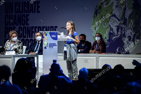 Stock Picture of Greta Thunberg, Giuseppe Sala, Patricia Espinosa during the opening of a three-day Youth for Climate summit in Milan, Italy, 28 Sept 2021