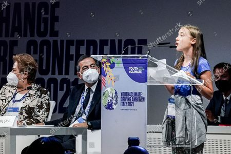 Greta Thunberg, Giuseppe Sala, Patricia Espinosa during the opening of a three-day Youth for Climate summit in Milan, Italy, 28 Sept 2021
