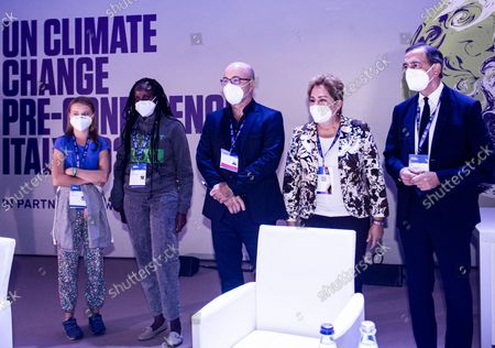 Greta Thunberg, Vanessa Nakate, Roberto Cingolani, Patricia Espinosa, Giuseppe Sala during the opening of a three-day Youth for Climate summit in Milan, Italy, 28 Sept 2021