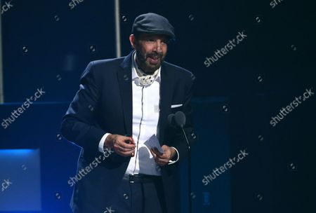 """Juan Luis Guerra accepts the award for best contemporary/tropical fusion album for """"Literal"""" at the 20th Latin Grammy Awards in Las Vegas on . Guerra, a 20-time Latin Grammy winner, received six Latin Grammy nominations including record of the year, album of the year and best traditional pop vocal album"""