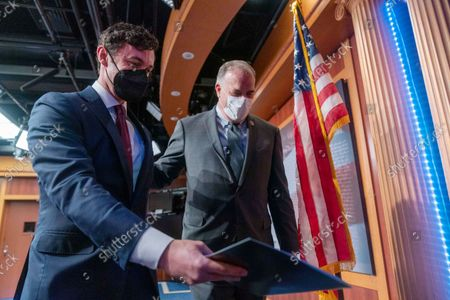 Sen. Jon Ossoff, D-Ga., left, and Rep. Dan Kildee, D-Mich., leave a news conference on the inclusion of Solar Tax Credit Legislation in the reconciliation bill on Capitol Hill in Washington