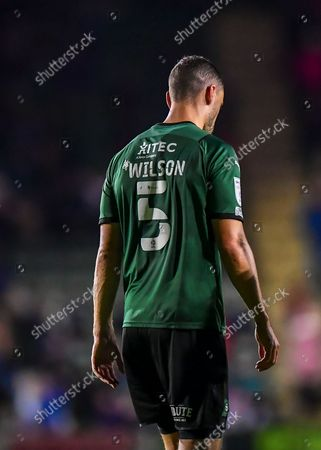 Plymouth Argyle defender James Wilson  (5) is injured  during the EFL Sky Bet League 1 match between Plymouth Argyle and Crewe Alexandra at Home Park, Plymouth
