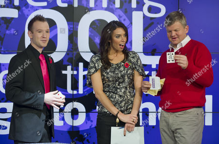 Stock Photo of Steve Dela with Adrian Chiles and Christine Bleakley