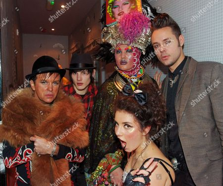 Steve Strange, Luke Worrall, club promoter Daniel Lismore and guests