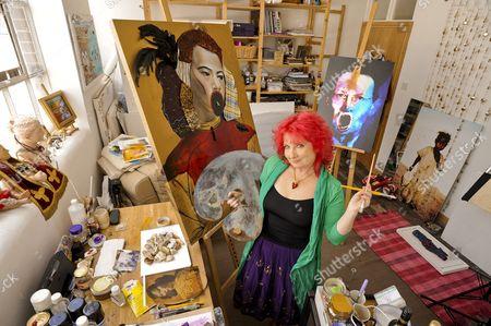 Stock Picture of Triona Holden in her artist studio at Euroart in Tottenham.