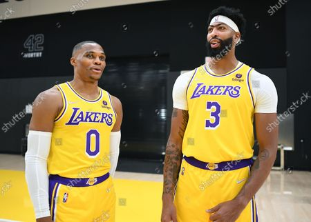 Lakers Russell Westbrook, left,and Anthony Davis chat during media day at the UCLA Health Training Center in El Segundo Tuesday. (Wally Skalij/Los Angeles Times)