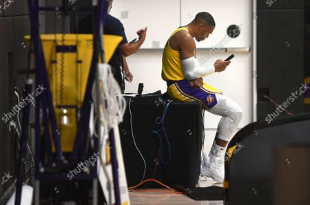 Stock Photo of Lakers Russell Westbrook takes a break from media day at the UCLA Health Training Center in El Segundo Tuesday. (Wally Skalij/Los Angeles Times)