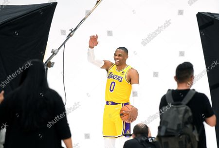 Lakers Russell Westbrook prepares for a photo shoot during media day at the UCLA Health Training Center in El Segundo Tuesday. (Wally Skalij/Los Angeles Times)