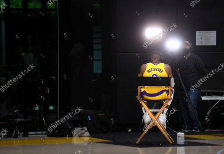 Stock Picture of Lakers Russell Westbrook does an interview during media day at the UCLA Health Training Center in El Segundo Tuesday. (Wally Skalij/Los Angeles Times)