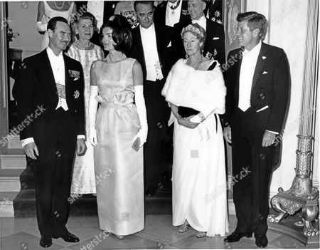 Stock Image of Prince Jean of Luxembourg, First Lady Jacqueline Bouvier Kennedy, Grand Duchess Charlotte of Luxembourg and US President John F. Kennedy, (with Vice President Lyndon B. Johnson, C, behind)